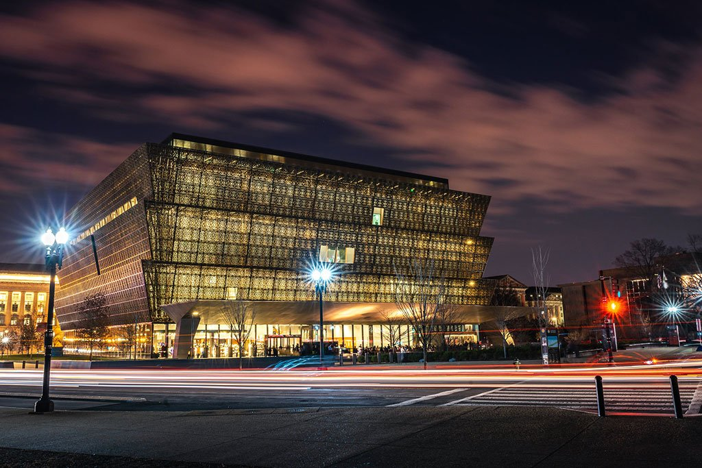Photo of the museum illuminated at night