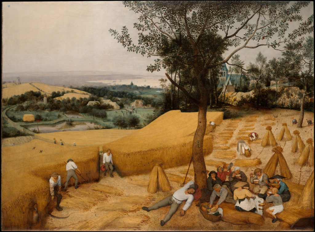 Painting of workers harvesting a wheat field while some rest under a tree.