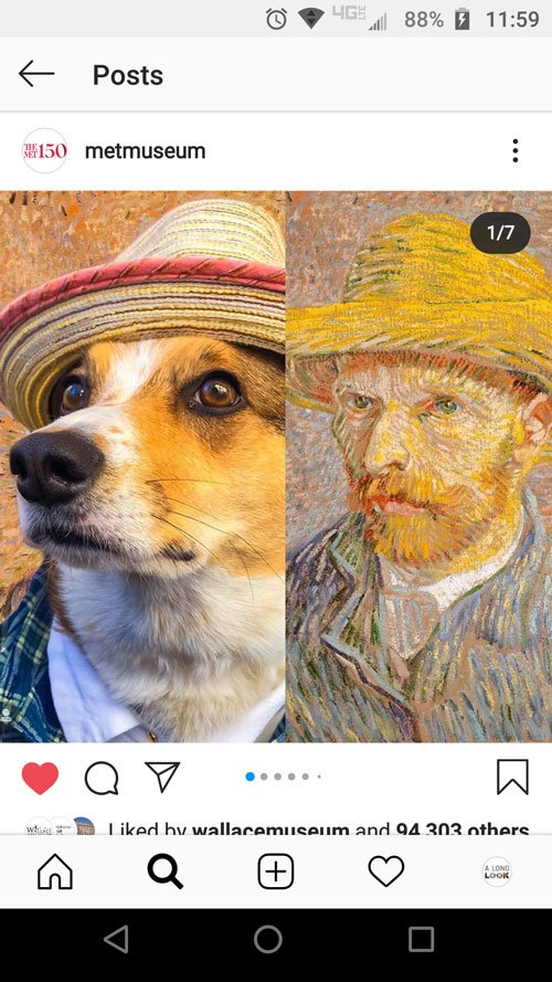 Instagram screengrab of Vincent Van Gogh portrait side-by-side with dog dressed in similar costume.