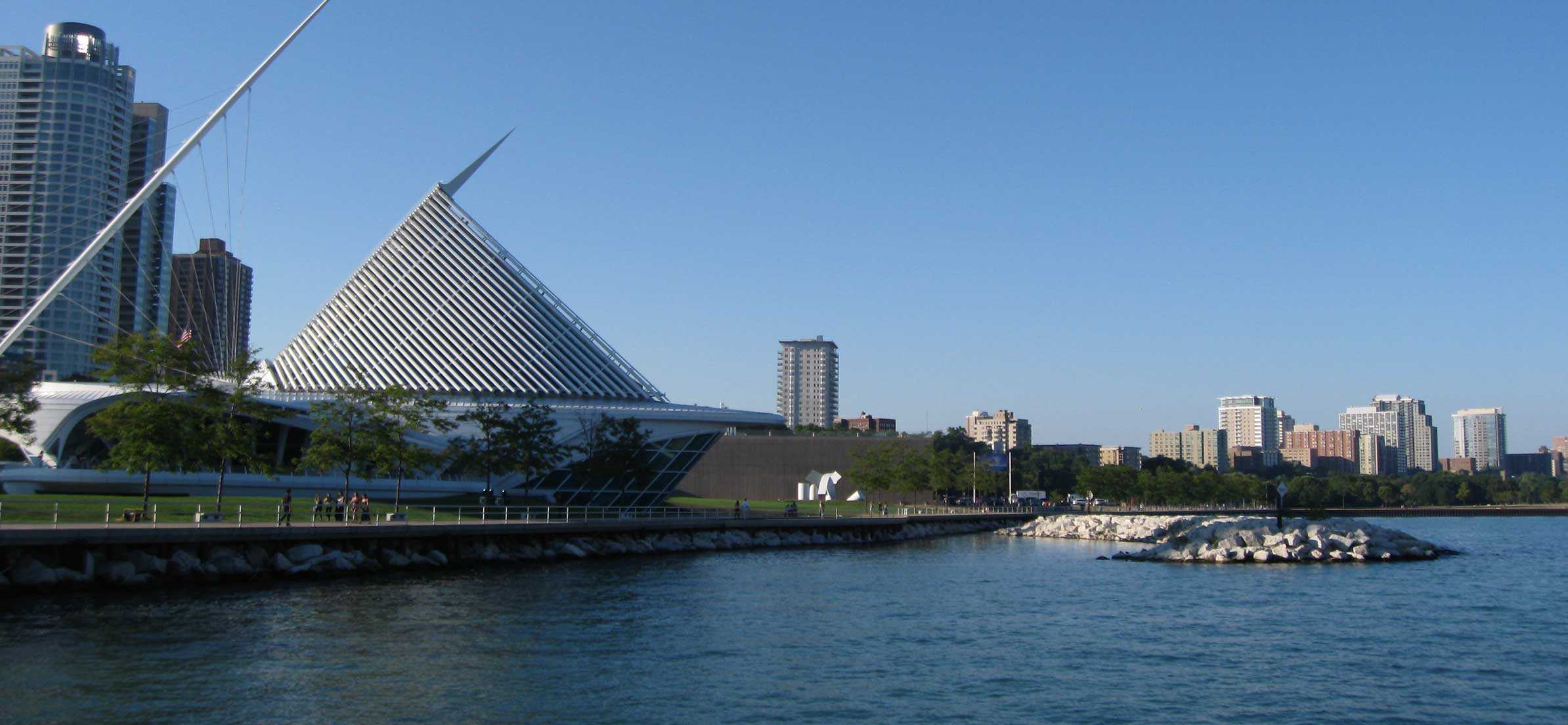 Exterior view of the Milwaukee Art Mumseum in Wisconsin USA