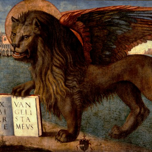 Painting of winged lion resting one paw on an open book. Part of the Venetian skyline is visible behind him.