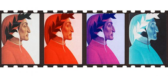 A portrait of Dante in profile appears in 4 film cels and tinted orange, red, purple and blue.