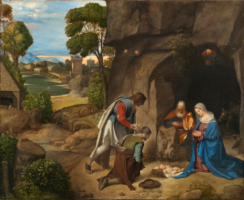 Two shepherds and an elderly man and young woman sit outside a cave gazing at the infant on the ground.